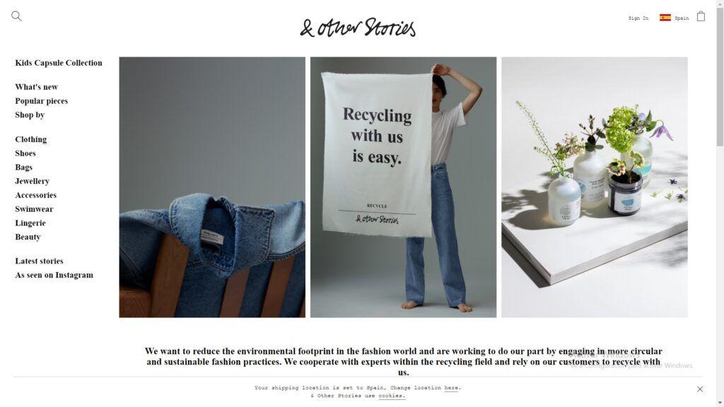 &other stories, esencia de marca, brand essence, marca sostenible, reciclaje, 5 consejos que ayudarán a potenciar tu ecommerce