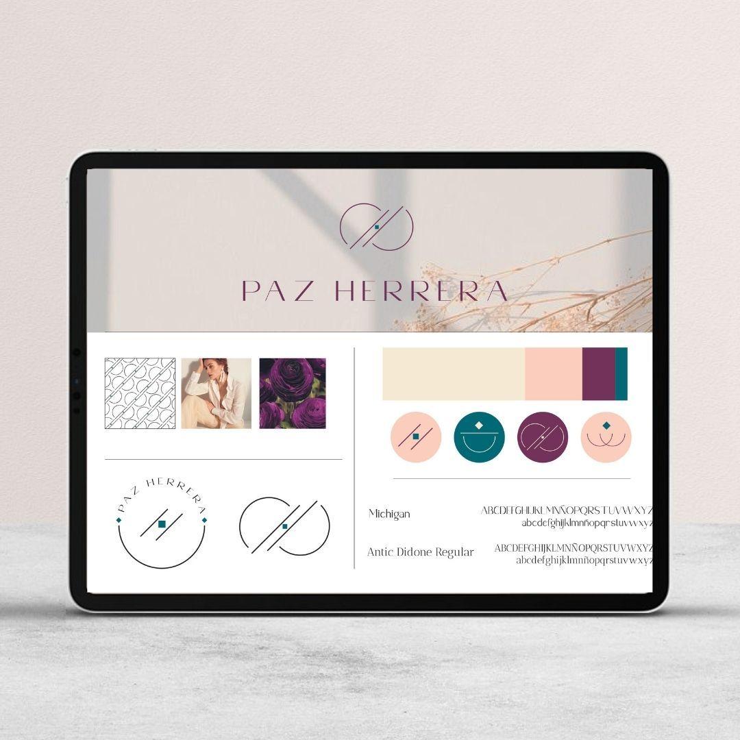 Logotipo Paz Herrera, logotipo asesora de imagen, branding para moda, asesoría de imagen, identidad visual personal shopper, branding image coach